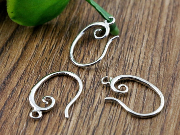 19x11mm Rhodium Colors Plated popular Ear Hooks Earring Wires for Women Fashion Jewelry