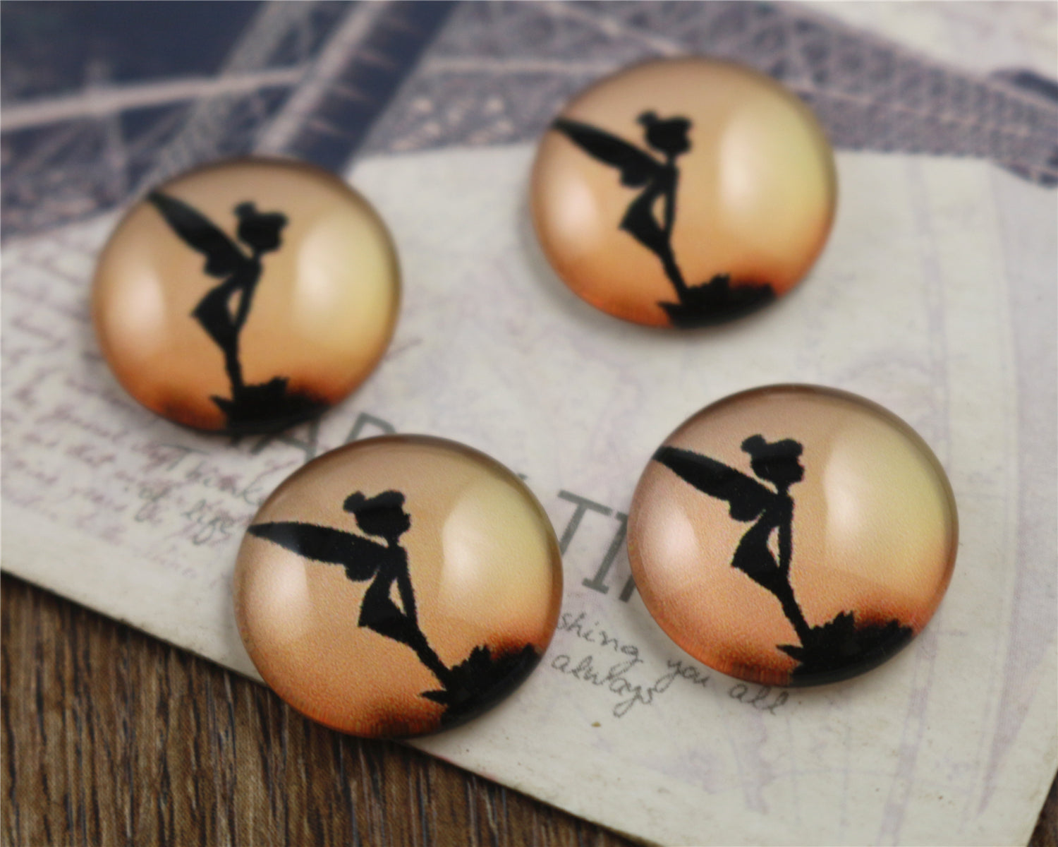 16mm Handmade Round Glass Cabochons Tinkerbell Silhouette Design Pattern Style