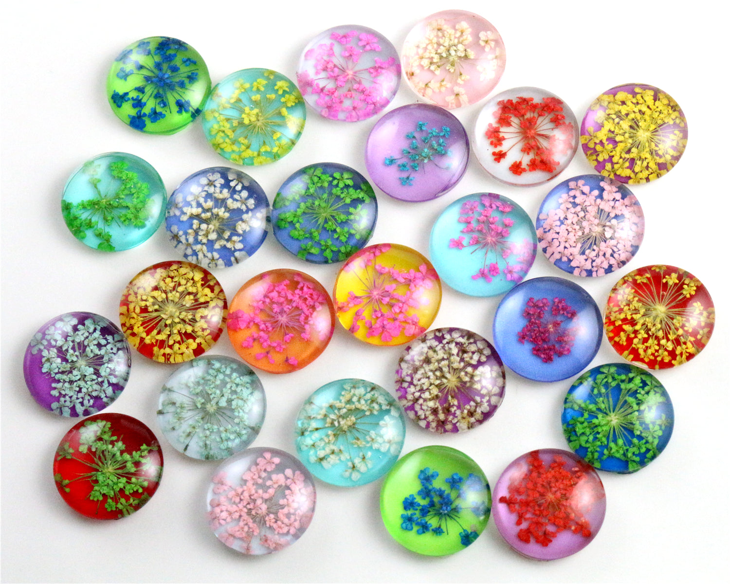 18mm Round Glass Cabochons Mixed Natural Dried Flowers Fit Cameo Pendant Setting