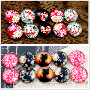 12mm Round Glass Cabochon Cat Flower Pattern Domed Jewelry Accessories Supplies