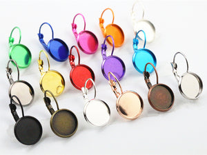 12mm 20 Colors Plated French Lever Back Earrings Fit Blank Base Buttons Earring Bezels Settings