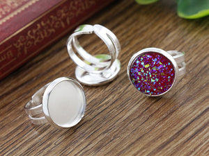 12mm Children Silver Plated Brass Adjustable Ring Fit Blank Base Settings