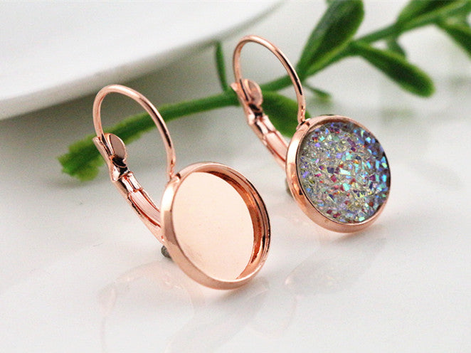 12mm Dark Rose Gold Plated French Lever Back Earrings Blank Fit  Base Setting