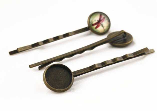 12mm High Quality Bronze Plated Copper Material Hairpin Hair Clips Fit Base Setting