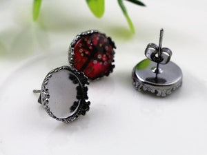 12mm 5 Fashion Colors Plated Earring Studs Fit Blank Base Buttons Earring Bezels Settings