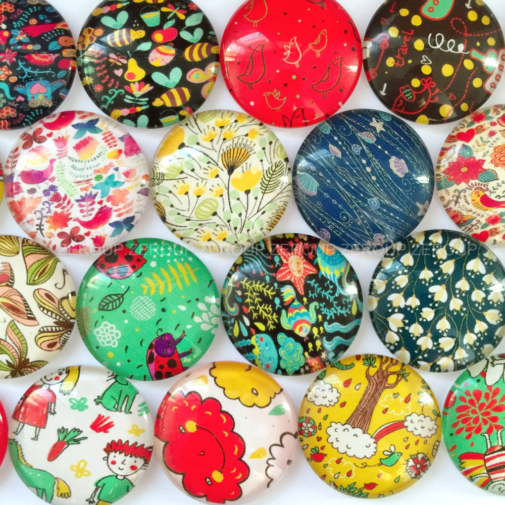 10mm 12mm 18mm 20mm 25mm 30mm Fancy Mixed Pattern Round Glass Cabochon Fit Cameo Base Setting
