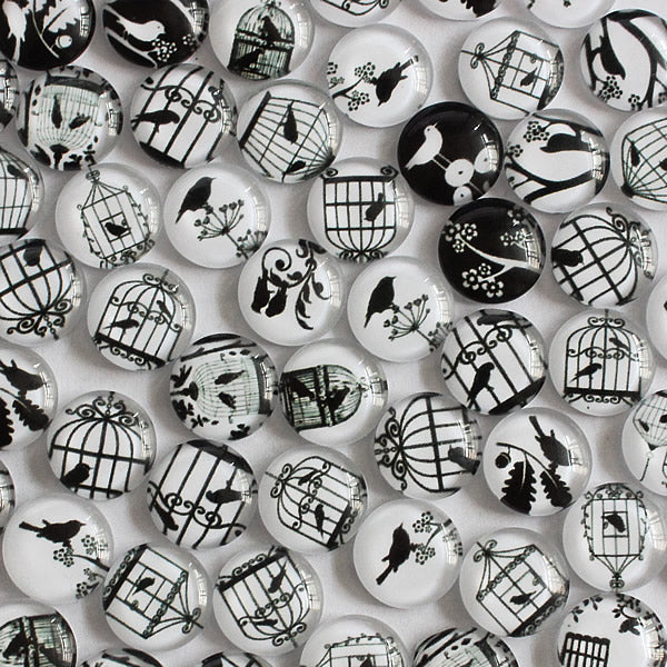 12mm Black and White Bird Round Glass Cabochon Jewelry Finding Cameo Pendant Settings