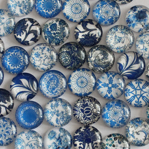 Blue and White Porcelain Round Dome Glass Cabochon 12mm Jewelry Finding Cameo Pendant Settings