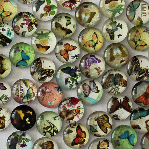 12mm Butterfly Round Glass Cabochon Jewelry Finding Cameo Pendant Settings