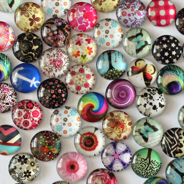 12mm Mixed Style Round Glass Cabochon Cameo Jewelry Finding