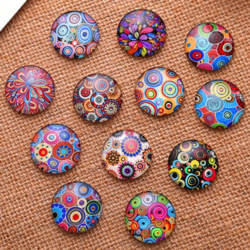 12mm Mixed Style Round Glass Cabochon Dome Jewelry Finding Cameo Pendant Settings