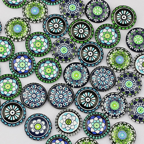 12mm Round Glass Cabochon Mixed Glass Mosaic Style Dome Jewelry Finding Cameo Pendant Settings