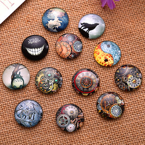 12mm Mixed Style Round Glass Cabochon Jewelry Finding Cameo Pendant Settings