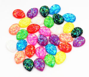 13x18mm Flat Back Resin Cabochon Drop Style Mix Color Built-in Metal Foil Design
