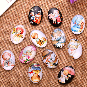 13x18mm Oval Glass Cabochon Mixed Baby Cartoons Style Dome Jewelry Finding Fashion Cameo Pendant Settings
