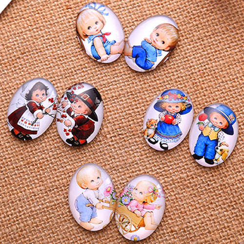 13x18mm Oval Glass Cabochon Mixed Baby Pictures Style Dome Jewelry Finding Fashion Summer Cameo Pendant Settings
