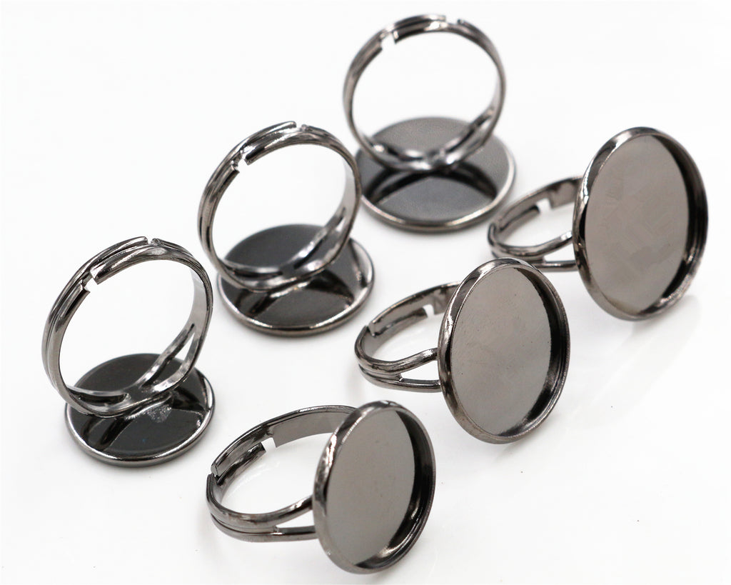 14mm 16mm 18mm Gun Black Plated Brass Adjustable Ring Bezels Blank Fit Base Settings