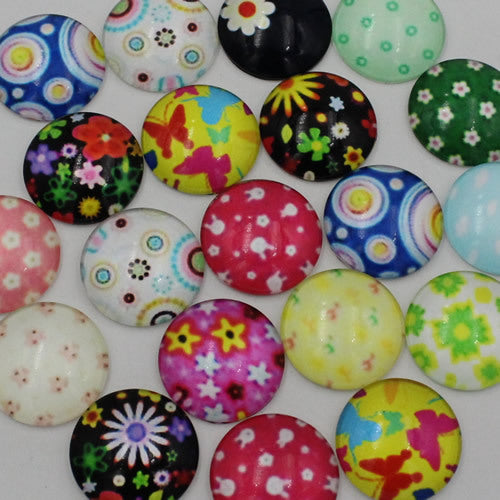 14mm Round Glass Cabochon Mixed Style Cartoon Flower Dome Jewelry Finding Cameo Pendant Settings