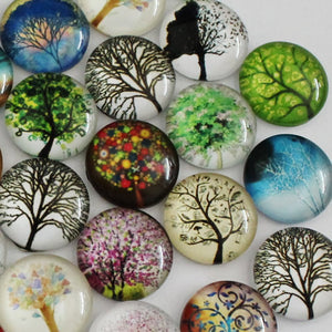 14mm Round Glass Cabochon Mixed Hope Tree Style Dome Jewelry Finding Cameo Pendant Settings