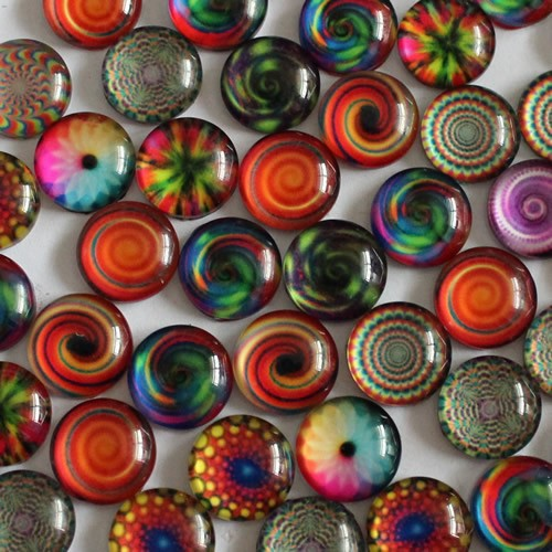 14mm Round Glass Cabochon Mixed Kaleidoscope Style Dome Jewelry Finding Cameo Pendant Settings