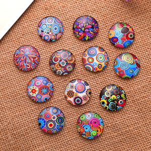 14mm Mixed Style Round Glass Cabochon Dome Jewelry Finding Cameo Pendant Settings 50pcs/lot (K02957)