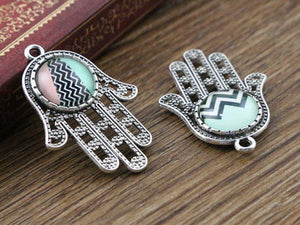 12mm Inner Size Antique Silver Plated Hand Style Fit Base Setting Charms Pendant Tray