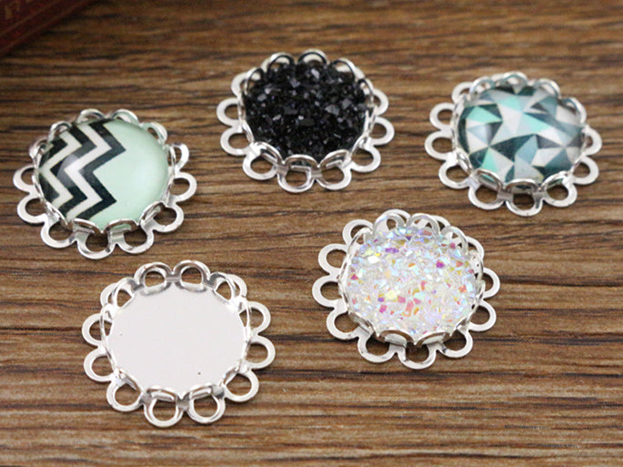 12mm Inner Size Silver Plated Brass Material Simple Style Fit Base Setting Charms Pendant Tray