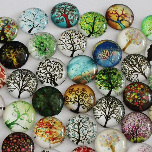 16mm Round Glass Cabochon Mixed Hope Tree Style Dome Jewelry Finding Cameo Pendant Settings