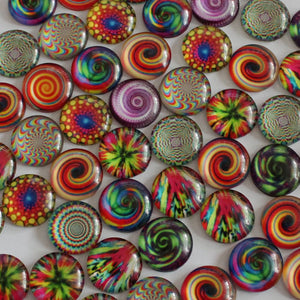 16mm Round Glass Cabochon Mixed Style Kaleidoscope Dome Jewelry Finding Cameo Pendant Settings