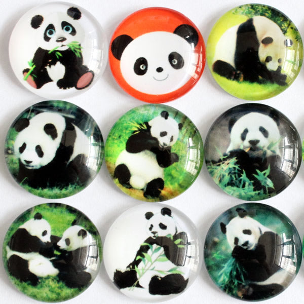 16mm Round Glass Cabochon Mixed Panda Pictures Dome Jewelry Finding Cameo Pendant Settings