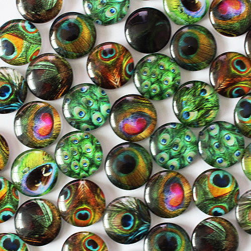 16mm Mixed Style Peacock Feather Round Glass Cabochon Dome Jewelry Finding Cameo Pendant Settings