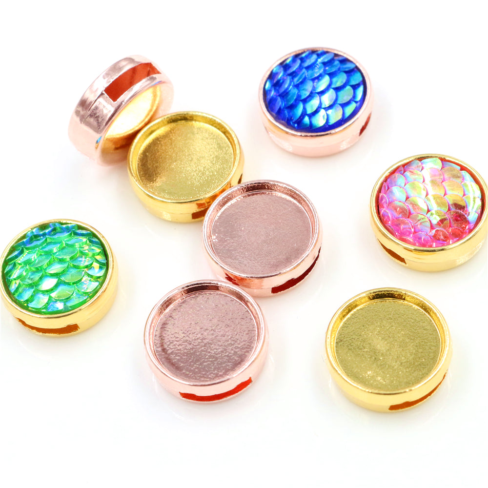 12mm Inner Size Rose Gold And Gold Fashion Style Cabochon Bracelet Base Cameo Setting Pendant For Bracelet Accessories