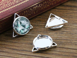 12mm Inner Size Silver Plated Brass Material Simple Style Charms Pendant Tray Fit Base Setting