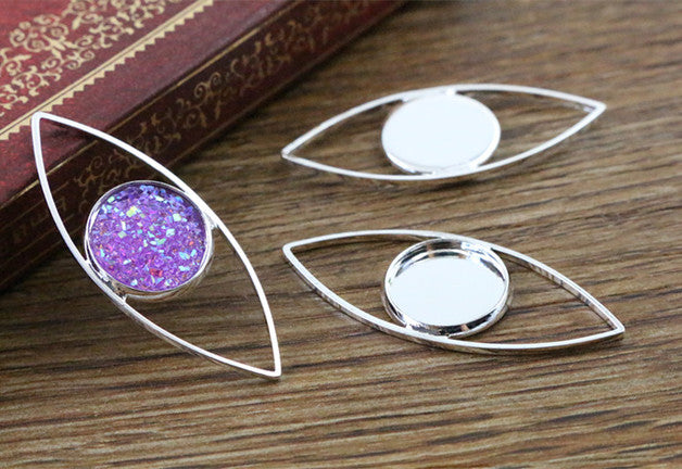 12mm Inner Size Silver Plated Brass Material Simple Style Fit Base Charms Pendant Tray  Setting
