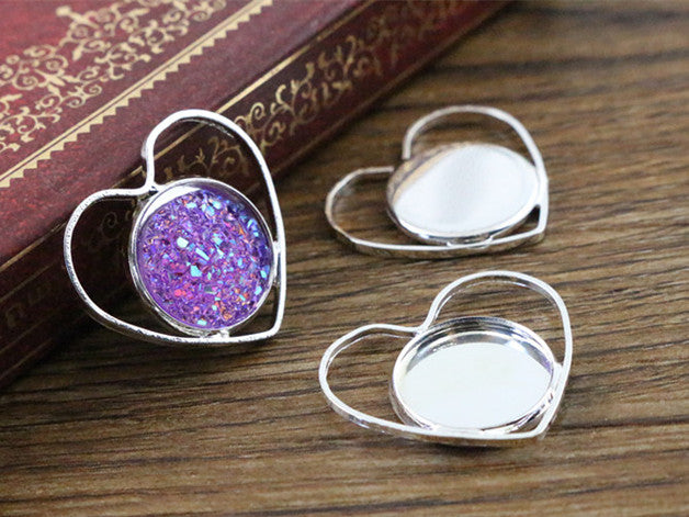 12mm Inner Size Silver Plated Brass Material Simple Style Base Setting Charms Pendant Tray