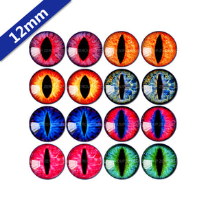 10mm 12mm 14mm 16mm 18mm 20mm 25mm Round Glass Eyes Design  Cabochon Mixed Style Fit Base Setting