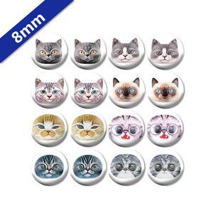 10mm 12mm 14mm 16mm 18mm 20mm 25mm Round Glass Cabochon Cat Mixed Pattern Fit Base Earring Setting