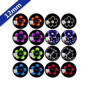 10mm 12mm 14mm 16mm 18mm 20mm 25mm Classical Flower Mixed Pattern Round Glass Cabochon Fit Base Earring Setting