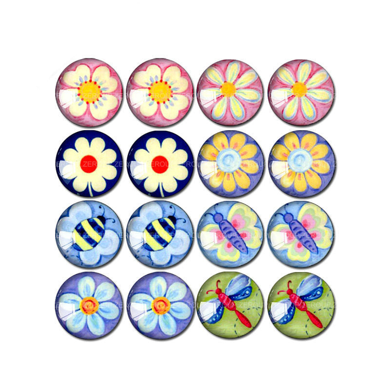 10mm 12mm 14mm 14mm 16mm 18mm 20mm 25mm Flower and Dragonfly Round Glass Cabochon Mixed Pattern Fit Base Earring Setting