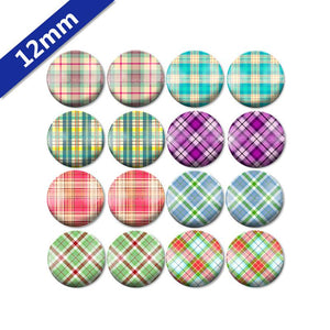 10mm 12mm 14mm 16mm 18mm 20mm 25mm Round Glass Cabochon Mixed Style Checkers Pattern Fit Base Setting