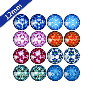 10mm 12mm 14mm 16mm 18mm 20mm 25mm Kaleidoscope Mixed Pattern Round Glass Cabochon Fit Base Earring Setting