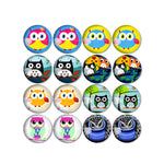 10mm 12mm 14mm 16mm 18mm 20mm 25mm Owl Round Glass Cabochon Mixed Pattern Fit Base Earring Setting