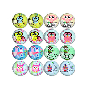 10mm 12mm 14mm 16mm 18mm 20mm 25mm Round Glass Cabochon Owl Pictures Mixed Pattern Fit Base Earring Setting