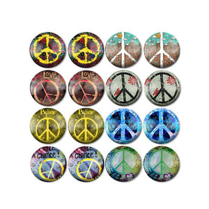 10mm 12mm 14mm 16mm 18mm 20mm 25mm Mixed Style Green Peace Round Glass Cabochon Fit Base Setting