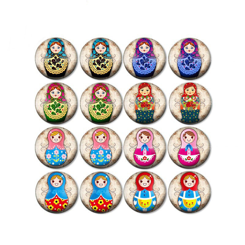10mm 12mm 14mm 16mm 18mm 20mm 25mm Nesting Russian Doll Round Glass Cabochon Mixed Pattern Fit Base Earring Setting