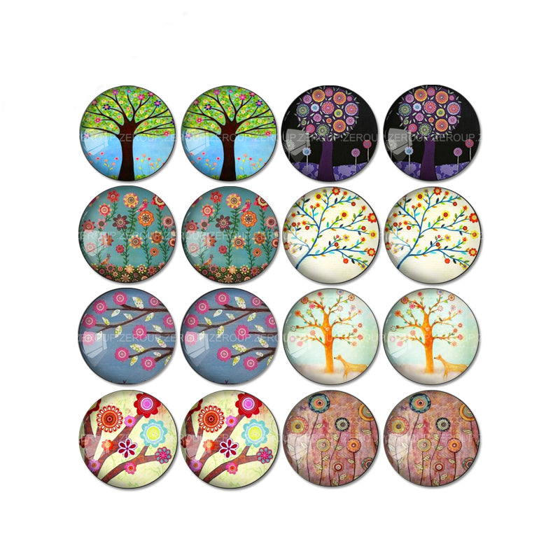 10mm 12mm 14mm 16mm 18mm 20mm 25mm Round Glass Cabochon Tree Branch Pictures Mixed Pattern Fit Base Earring Setting
