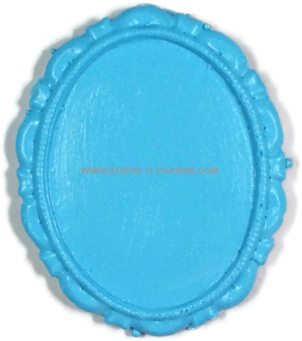 12 Resin Frame Setting Bezel Victorian Style fit 40x30 cameo BLUE 17.1