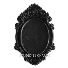 12 Resin Frame Setting Bezel Victorian fit 40x30mm cameo BLACK 4.7