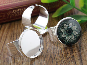 18mm Bright Silver Plated Brass Adjustable Ring Fit Blank Base Buttons Ring Bezels Settings