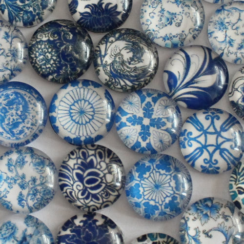 18mm Round Glass Cabochon Mixed Style Blue And White Porcelain Dome Jewelry Finding Cameo Pendant Settings